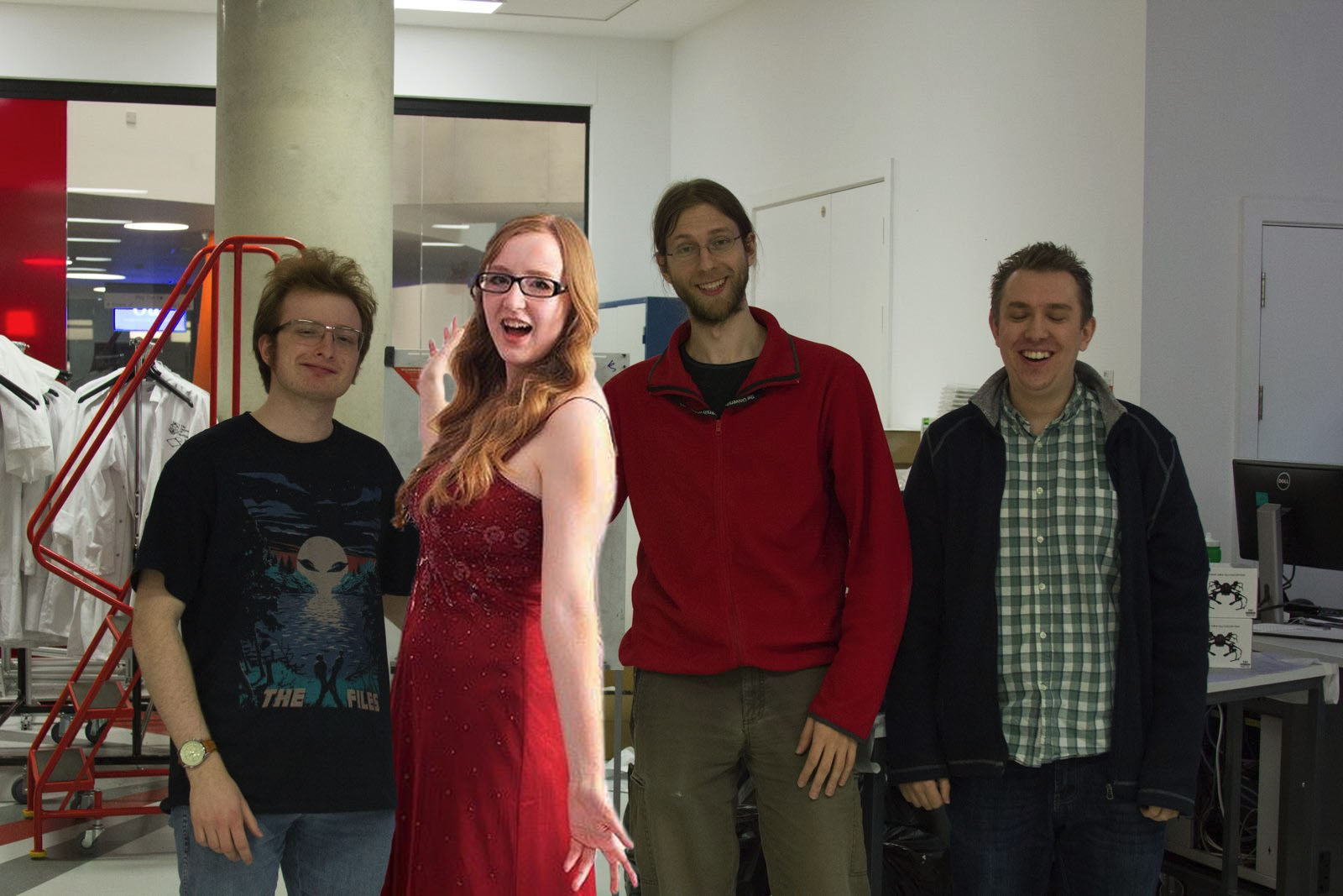 Image Showing all four members of our group - including a photoshopped in Rebecca
