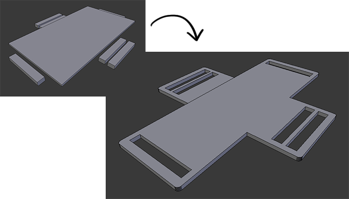 Image showing progression from measurements to final 3d design for the battery holder